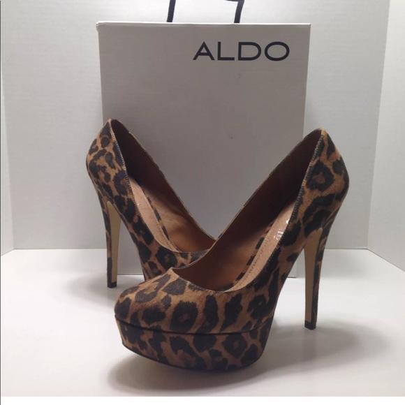 8609547d130 Aldo Capecoral Leopard Print Platform Pumps Sz 9